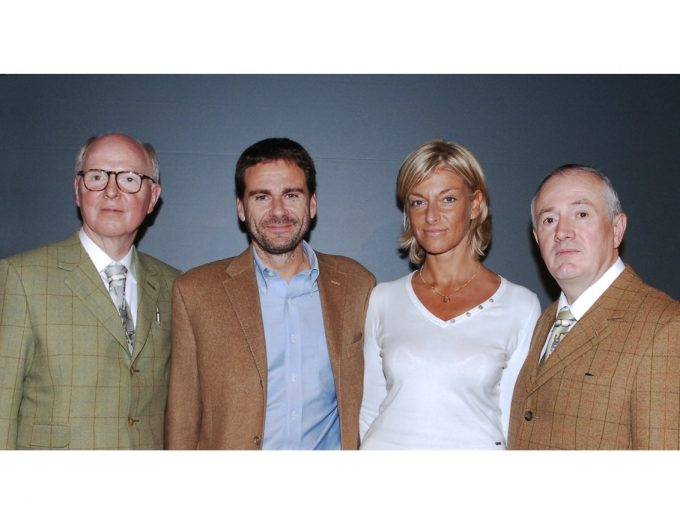 Vito Abba and Lara Cox with Gilbert and George